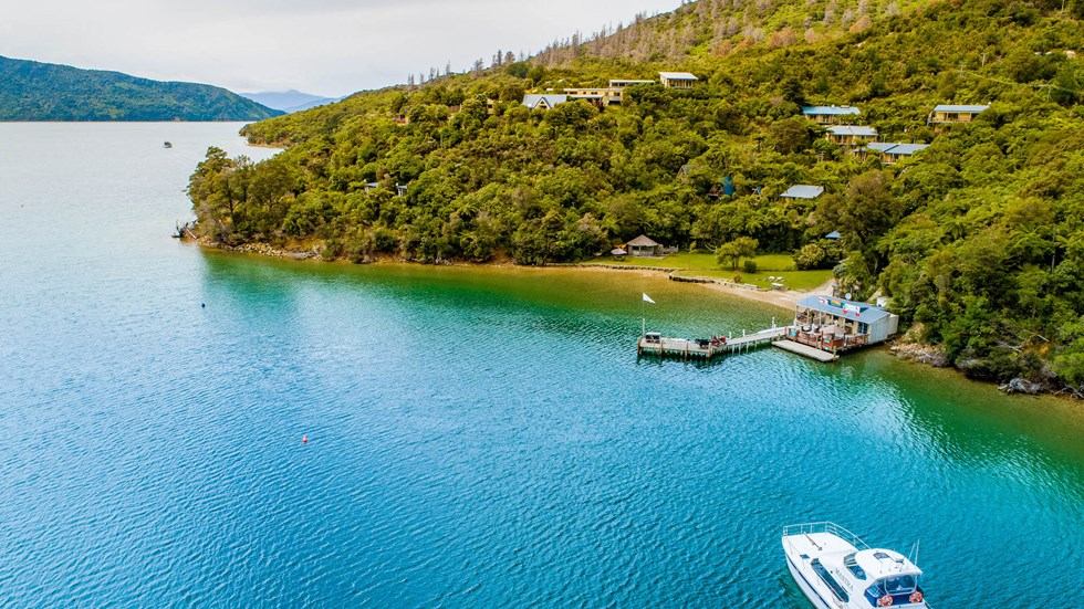An aerial view of Punga Cove bay and the property accommodation in Endeavour Inlet n the Marlborough Sounds in New Zealand's top of the South Island